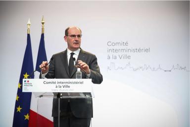 Le premier ministre Jean Castex lors de son intervention au Comité Interministériel des villes, à Grigny, le vendredi 29 janvier 2021.